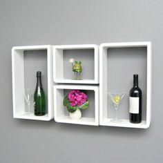 4er Set Lounge Cube Trend Regal Board im Retro Design der 70 er Jahre Wandregal Hängeregal Weiß mit je 2 runden und 2 rechteckigen Ecken: Am...