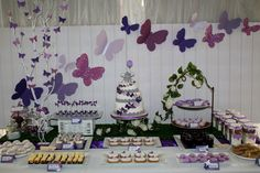 "Photo 1 of 32: Purple butterflies and elephants / Birthday ""Butterflies & Elephants"" 