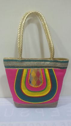 Handbag made of Raw Silk with Colorful Patches