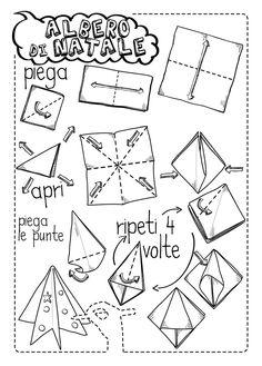 origami albero di natale Christmas Humor, Christmas Time, Xmas, Origami Christmas, Paper, Crafts, Diy, Art, Xmas Jokes