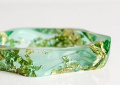 wavy eco resin bangle apple green with gold flakes by RosellaResin, $150.00