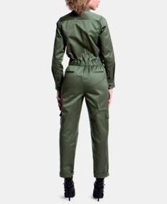 Artistix Cotton Zip-Up Flightsuit - Green XS Cotton Jumpsuit, Playsuit Romper, Catsuit, Street Chic, Leggings Are Not Pants, Jumpers, Jumpsuits For Women, Casual Looks, Zip Ups