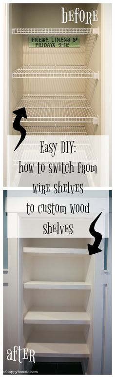 How to Replace Wire Shelves with DIY Custom Wood Shelves So ersetzen Sie Drahtregale durch DIY-Holzregale – The Happy Housie Bathroom Closet, Closet Bedroom, Bathroom Shelves, Hallway Closet, Master Closet, Closet Space, Wall Shelves, Organizing Wires, Diy Regal
