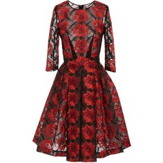 Zac Posen     Poppy Embroidery Three Quarter Sleeve Dress (95,960 PHP) via Polyvore featuring dresses, red, red dress, three quarter sleeve dress, poppy print dress, red a line dress and 3/4 length sleeve dresses