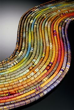 9 Sautoir by Elise Winters (polymer clay) Paper Bead Jewelry, Paper Beads, Jewelry Art, Beaded Jewelry, Bead Necklaces, Rope Necklace, Polymer Clay Kunst, Polymer Clay Projects, Polymer Clay Beads