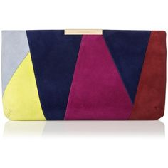 L.K. Bennett Flora Patchwork Suede Clutch ($340) ❤ liked on Polyvore featuring bags, handbags, clutches, colorblock purse, l.k.bennett, purple purse, suede leather handbags and suede purse