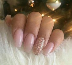 65+Beautiful Matte Glitters Nail Art Ideas #AcrylicNailsGlitter Almond Acrylic Nails, Summer Acrylic Nails, Best Acrylic Nails, Acrylic Nail Designs, Nagellack Design, Nagel Hacks, Gold Nails, Gold Glitter, Baby Pink Nails With Glitter