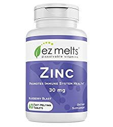 EZ Melts Zinc for Immune Support 30 mg Sublingual Vitamins Vegan Zero Sugar Natural Blueberry Flavor 60 Fast Dissolve Tablets >>> More info could be found at the image url. (This is an affiliate link) Zinc For Skin, Best Zinc Supplement, Chewable Vitamins, Adrenal Support, Anti Aging Supplements, Protein Supplements, Vegan