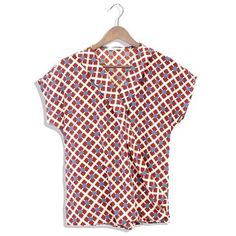 How to dress up your casual weekend look?  Try an easy fitting wrap top in a fun pattern and pair with your fave denim!!