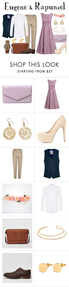 """""""Eugene & Rapunzel / Tangled"""" by waywardfandoms ❤ liked on Polyvore featuring Lodis, Jolie Moi, Urbiana, Charlotte Russe, River Island, Topman, BERRICLE, Men's Society, Timex and disney"""