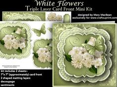White Flowers Triple Layer Card Front Mini Kit on Craftsuprint designed by Mary…
