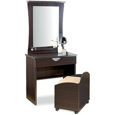 Vanity Table  on Amazon Com  White Finish Wood Vanity Make Up Table With Bench