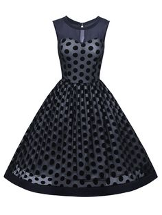$24.42 Summer Retro Polka Dot Mesh Yarn Insert Dress