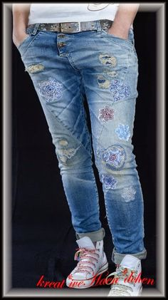 Jeans Denim cool stuff flicken patches lace doily Spize unterlegen sticken embroidery Hose Pants krea*tiveHaen*dchen