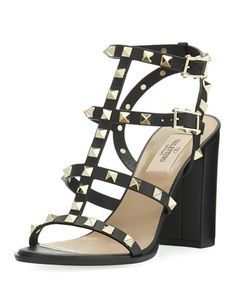 Rockstud+Leather+90mm+City+Sandal+by+Valentino+at+Bergdorf+Goodman.
