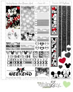 Free Printable Mickey & Minnie Love Planner Stickers from Oh So WhimZey Planner Free, Mini Happy Planner, Planner Pages, Planner Sheets, Wash Tape, Mickey And Minnie Love, Disney Planner, Planner Supplies, Planner Ideas