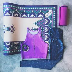 The perfect combo of bright lavender cool grey from Teeki & La Vie Boheme Yoga.