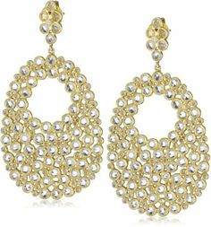 Sutra Gold Plated Sterling Silver Rose Cut White Topaz Drop Earrings Sutra. $1140.00. Made in India. Handcrafted with labor intensive work where each stone is set in a separate bezel. Length of earring: 6.1 mm. Egg shaped drop earring set in 17.36 ct white topaz