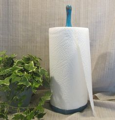 Lovely, Paper Towel Holder, Counter Top, Solid Wood, Turquoise Caribean Blue, Kitchen Decor, Cottage Chic, French Country, Country Farm, by ClassicMontage on Etsy