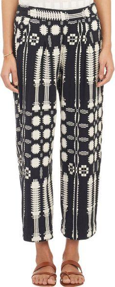 Ace & Jig Tribal-Pattern Gaucho Pants in Black