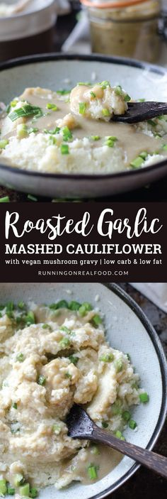 Try Roasted Garlic Mashed Cauliflower with Vegan Mushroom Gravy for a healthy, low carb & low fat alternative to potatoes and gravy at your holiday meals. Loaded with flavour, extra creamy, completely plant-based, gluten-free, oil-free and sugar-free. Roasted Garlic Mashed Cauliflower with Vegan Mushroom Gravy https://runningonrealfood.com/mashed-cauliflower-vegan-mushroom-gravy/
