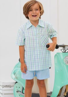 Pair with our blue pique shorts for a precious go-to outfit. Coordinate matching sibling sets with outfits from our Harbor Whale Collection. Shrimp And Grits Kids, Dress Up, Shirt Dress, Check Shirt, Oxford, Shorts, Boys, Clothes, Outfits