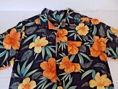 Hawaiian Shirt Size Large Black Hibiscus Flower Island Mens Aloha Camp Shirt…
