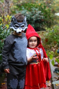 Red Riding Hood (cape is handmade) and the Wolf (total DIY costume). Post includes links to tutorials and tips on making the costumes. So sweet for a brother and sister. #halloween