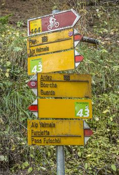The typical Swiss hiking signs
