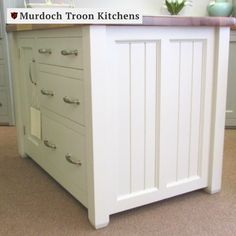 This is a traditional central island unit with three wide drawers next to a full height cupboard on one side and two doors on the opposing side. Each end has a finished panel. The drawers are made with dovetail joints and run on mechanical soft close runners. This island forms an excellent centrepiece to any kitchen and also provides a large work surface which is particularly useful when planning a freestanding kitchen.⠀ Kitchen Units, Kitchen Cupboards, Kitchen Island, Kitchen Ideas, Central Island, Freestanding Kitchen, Work Surface, Runners, Drawers