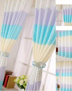 Cheap Blue/Purple Polka Dot Curtains For Kids Room