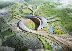 The stadium design is based on an asymmetrical configuration with the main corporate and management facilities located on the permanent western side, creating efficiency in terms of both construction and operations. The eastern side is a lighter solution, the temporary modular seating structure will disappear after the games, and the stadium structure is integrated into the local landscape. Symbolism is important to Korean culture. Project architect, Populous, Daekwon Park
