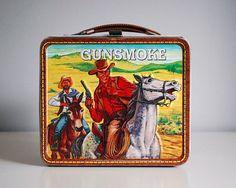 Gunsmoke Lunch Box, Metal Lunch Box, Western Cowboy Collectibles, 1970s Aladdin…