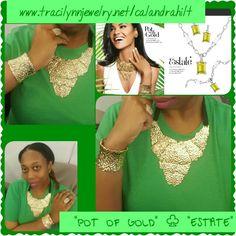 """""""Pot of Gold"""" necklace, earrings, bracelet"""
