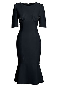 Women's Elbow Sleeve Dress from Lands' End Canvas line takes you from desk to dinner. Great lines. #lbd
