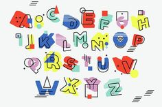 Retro Alphabet Design For Kids - Acrylic Print Alphabet A, Alphabet Design, Typography Alphabet, Typography Design, Logo Design, Art Vaporwave, Letras Cool, Inspiration Typographie, Memphis Pattern