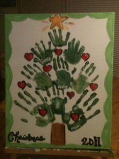 Handprint Christmas Tree Painting