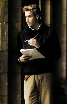Prince William, St. Salvator's Quad, St. Andrews University - look at all that hair!  Sigh...