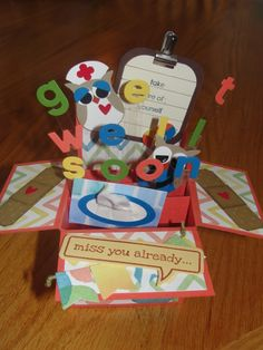 get well card in a box for a friend of mine...the second owl can't be seen well in the picture but he has a stethoscope...