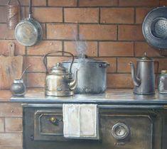 pinturastigre-3-002 Old Kitchen, Kitchen Art, Vintage Kitchen, Vintage Drawing, Vintage Art, Farmhouse Paintings, Painted Cottage, Crafts With Pictures, Kitchen Prints