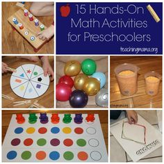 15 Hands-On Math Activities for Preschoolers. Mo has been learning to count, and LOVES IT. Need to get some math activities in there for the little man. Preschool Learning, Kindergarten Math, Teaching Math, Fun Learning, Preschool Activities, Montessori Math, Teaching Tools, Family Activities, Teaching Ideas