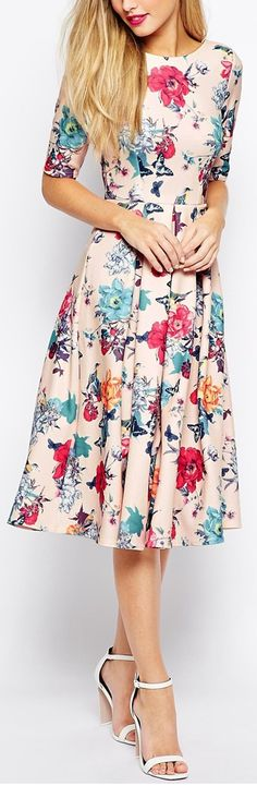 Pink floral midi dress with half sleeves
