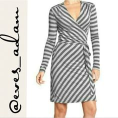 """Two tone long sleeve wrap dress New without tags. Two tone grey dress. Ties in the front with a bow. Control the fit of the dress with how tight you tie it. Ultra soft, light weight, jersey material. Approximately 38"""" from top to bottom. Old Navy Dresses"""
