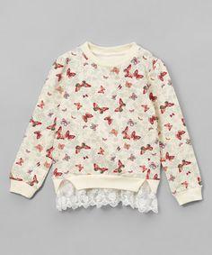 Love this Light Yellow Butterfly Lace Sweatshirt - Kids & Tween on #zulily! #zulilyfinds