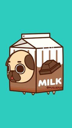 Animals, art, and baby image Art Kawaii, Cute Kawaii Drawings, Cute Animal Drawings, Pug Wallpaper, Kawaii Wallpaper, Wallpaper Iphone Cute, Pug Cartoon, Pug Art, Cute Cartoon Wallpapers