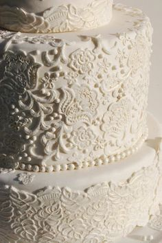 lace wedding cake... Since I don't want lace on my dress this would be sweet
