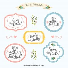 Wedding label pack with cute style Free Vector