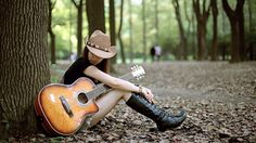 Girl with Guitar Wallpaper