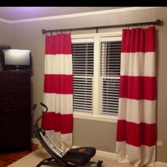 Used Two 95in Panels (one Red, One White) For 12.99 Each! Cut. Stripe  CurtainsRed CurtainsPirate NurseryExercise ...