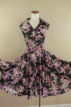60s / 70s Black & Lavender Floral Wide Collar by starlingdarlin, $48.00